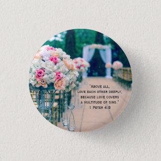Bóton Redondo 2.54cm Amor do buquê da flor e verso da bíblia do