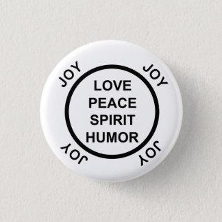 Bóton Redondo 2.54cm Amor, paz, espírito, humor, alegria - botão de