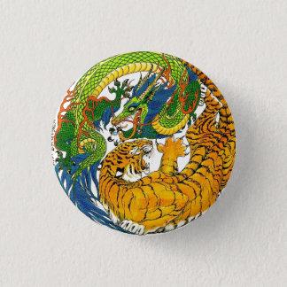 Bóton Redondo 2.54cm Arte oriental do tigre do dragão de Yin Yang do