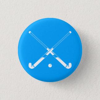 Bóton Redondo 2.54cm Azul do botão da silhueta do hóquei em campo