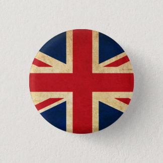 Bóton Redondo 2.54cm Bandeira velha Union Jack de Reino Unido do Grunge