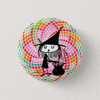 Bóton Redondo 2.54cm boa bruxa com o botão sagrado da geometria