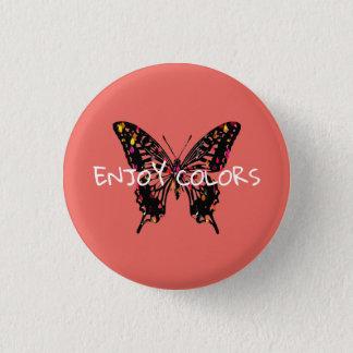 Bóton Redondo 2.54cm Borboleta colorida