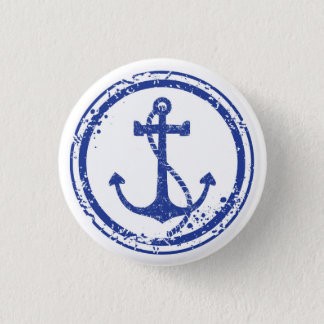 """Bóton Redondo 2.54cm Botão azul da âncora do vintage náutico - 1,5"""""""