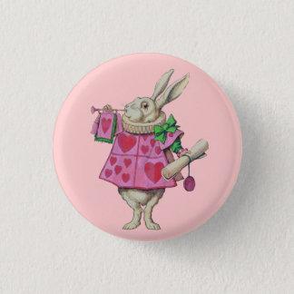 Bóton Redondo 2.54cm Botão branco do coelho (no rosa)