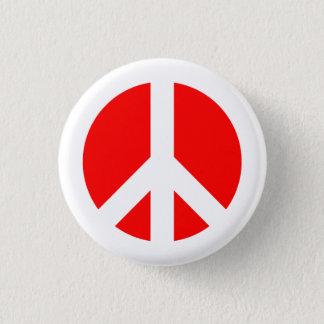 Bóton Redondo 2.54cm Botão branco e vermelho do símbolo de paz
