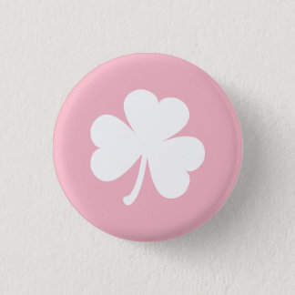 Bóton Redondo 2.54cm Botão cor-de-rosa com o trevo irlandês branco