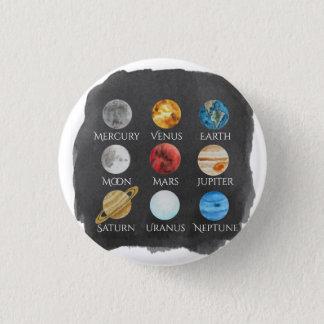 Bóton Redondo 2.54cm Botão da aguarela do sistema solar