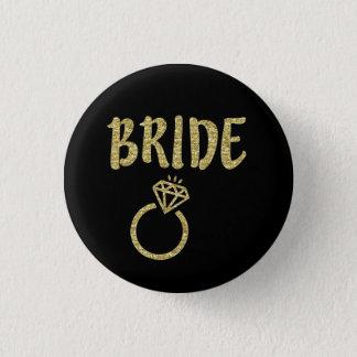 Bóton Redondo 2.54cm Botão da noiva do brilho do ouro