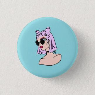 Bóton Redondo 2.54cm Botão de cabelo roxo de turquesa da menina