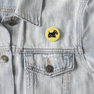Bóton Redondo 2.54cm Botão do amarelo do cão do Scottie