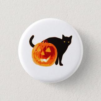 Bóton Redondo 2.54cm Botão do Dia das Bruxas da lanterna do gato preto