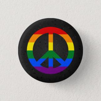 Bóton Redondo 2.54cm Botão do preto do sinal de paz da bandeira de LGBT
