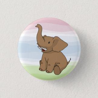 Bóton Redondo 2.54cm Botão feliz do elefante de Brown