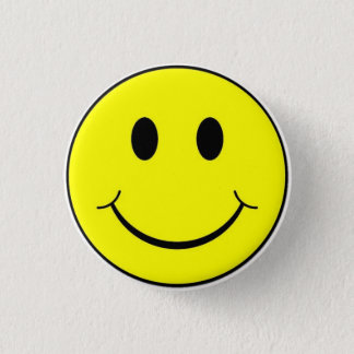 Bóton Redondo 2.54cm Botão feliz do smiley face do amarelo retro