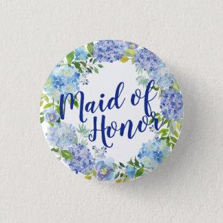Bóton Redondo 2.54cm Botão floral azul da madrinha de casamento da