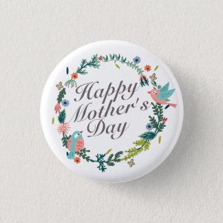 Bóton Redondo 2.54cm Botão floral da grinalda do dia das mães feliz
