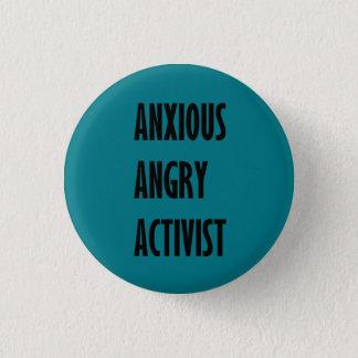 Bóton Redondo 2.54cm Botão irritado ansioso do activista