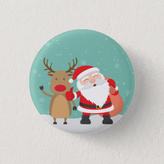 Bóton Redondo 2.54cm Botão muito bonito do Pin de Papai Noel e de rena