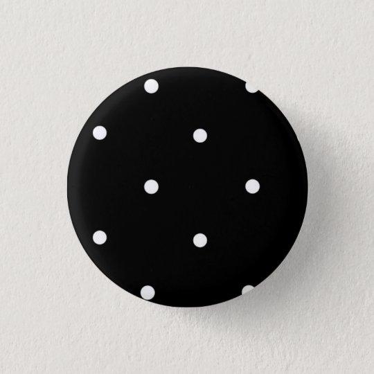 """Bóton Redondo 2.54cm Botão """"preto com bolinhas"""""""
