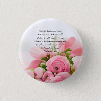 Bóton Redondo 2.54cm Buquê do rosa Pastel do verso da bíblia das flores