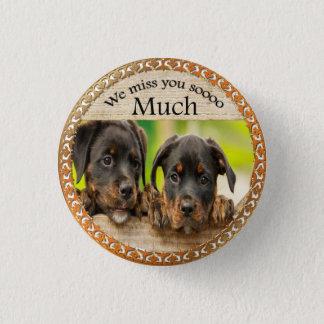 Bóton Redondo 2.54cm Cães de filhote de cachorro bonitos pretos de