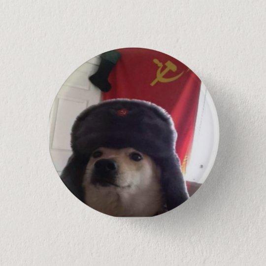 Bóton Redondo 2.54cm Camarada Doge o Doggo comunista Pupper