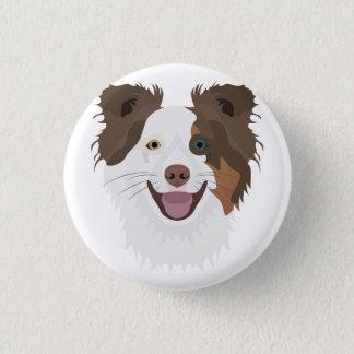 Bóton Redondo 2.54cm Cara feliz border collie dos cães da ilustração