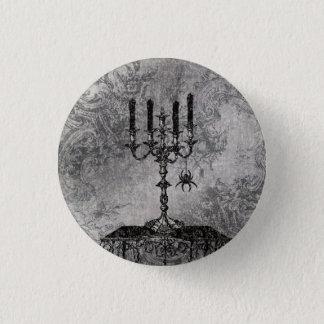 Bóton Redondo 2.54cm Castiçal gótico com aranha, o Dia das Bruxas