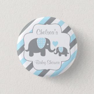 Bóton Redondo 2.54cm Chá branco, azul & cinzento do bebé do elefante da