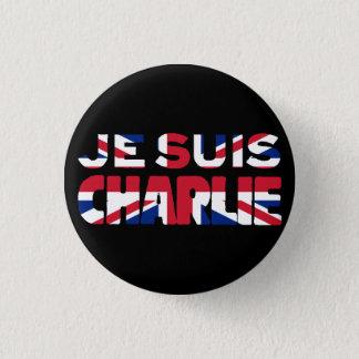 Bóton Redondo 2.54cm Charlie'- Union Jack Reino Unido de Je Suis