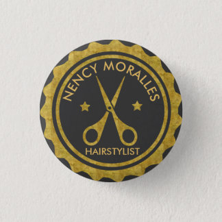 Bóton Redondo 2.54cm Círculo do ouro & logotipo do Hairstylist das