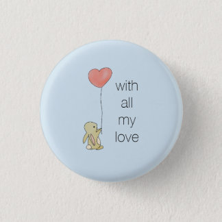 Bóton Redondo 2.54cm Coelho de Roo - balão do coração do amor