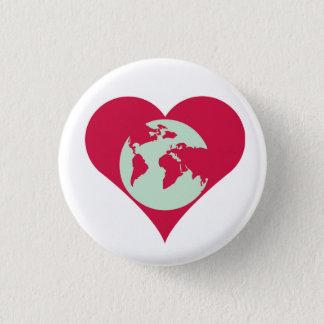 Bóton Redondo 2.54cm Coração o mundo