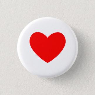 Bóton Redondo 2.54cm Coração vermelho