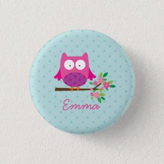Bóton Redondo 2.54cm Coruja bonito cor-de-rosa botão personalizado