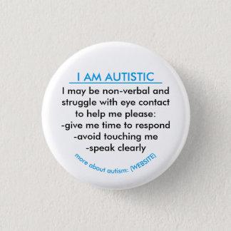 Bóton Redondo 2.54cm Crachá da informação do autismo