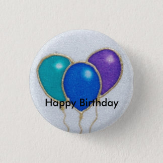 Bóton Redondo 2.54cm Crachá do botão do feliz aniversario do balão