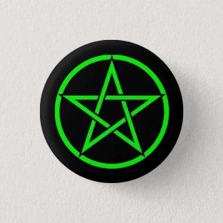 Bóton Redondo 2.54cm Crachá preto e verde do botão do Pentagram do