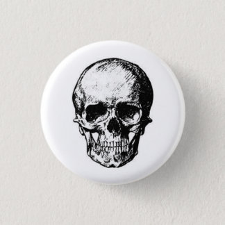 Bóton Redondo 2.54cm crânio no botão branco do fundo