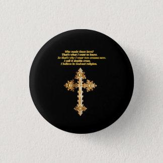 Bóton Redondo 2.54cm Cruz cristã do divertimento do ouro com provérbio