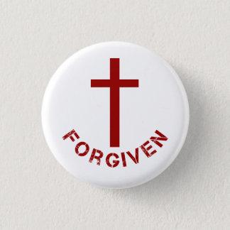 Bóton Redondo 2.54cm Cruz vermelha e design de texto perdoados cristão