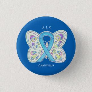 Bóton Redondo 2.54cm Da fita azul da consciência da borboleta do ALS