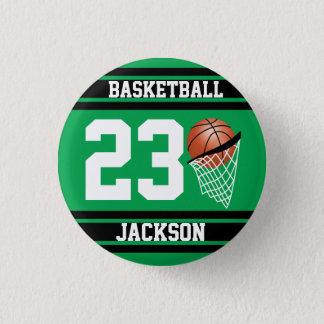 Bóton Redondo 2.54cm Design do basquetebol no verde e no preto