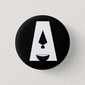 """Bóton Redondo 2.54cm Dia do botão preto do logotipo da arqueologia """"A"""""""