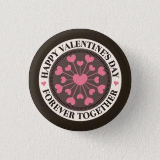 Bóton Redondo 2.54cm Disposição dos corações de namorados para sempre