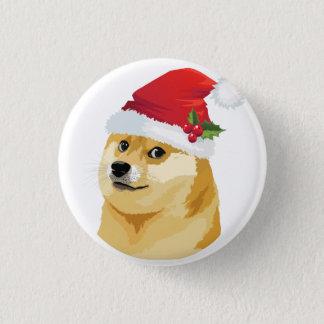 Bóton Redondo 2.54cm Doge do Natal - doge do papai noel - cão do Natal