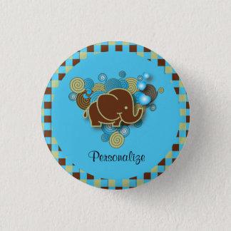 Bóton Redondo 2.54cm É um elefante do bebê do menino | | azul & xadrez
