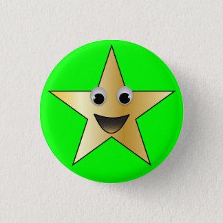 Bóton Redondo 2.54cm Estrela do ouro com cara de sorriso