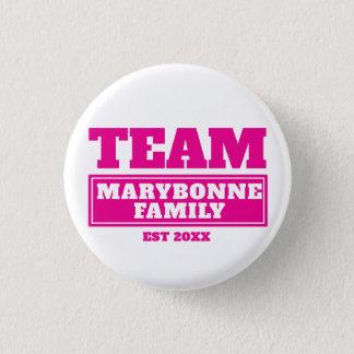 Bóton Redondo 2.54cm Família da equipe ou botão personalizado rosa da